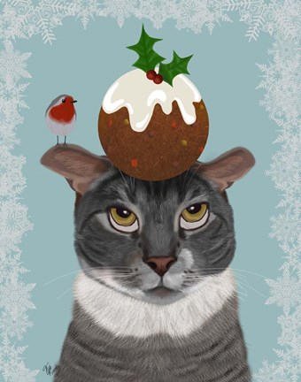 Framed Grey Cat and Christmas Pudding Print