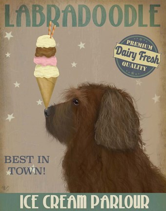 Framed Labradoodle, Brown, Ice Cream Print