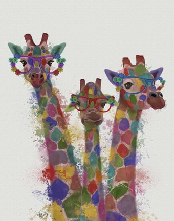 Framed Rainbow Splash Giraffe Trio Print