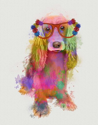Framed Rainbow Splash Cocker Spaniel, Full Print