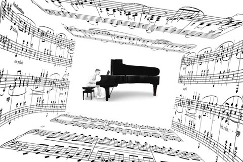 Framed Piano Player Print