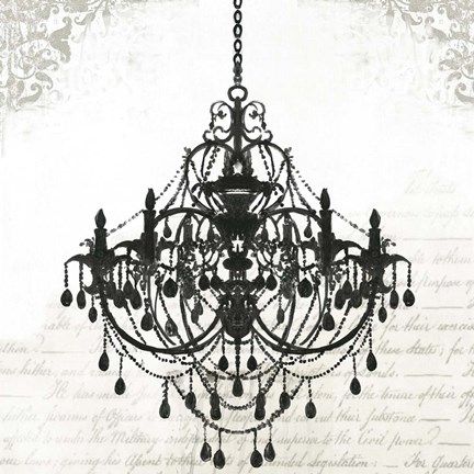 Framed Black Chandelier II Print