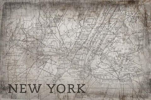 Framed New York Map White Print