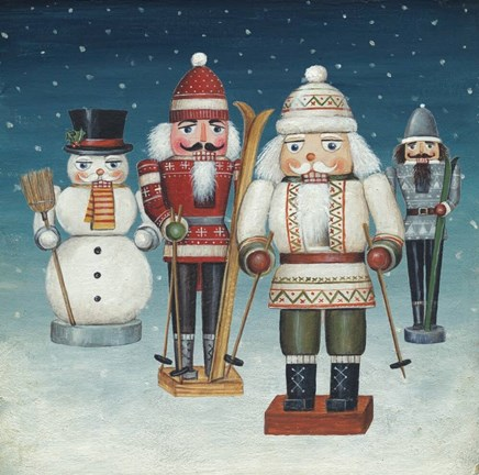 Framed Skier Nutcrackers Snow Print