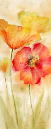 Framed Watercolor Poppy Meadow Spice Panel I Print