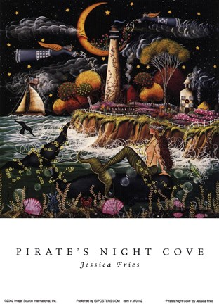 Framed Pirates Night Cove Print