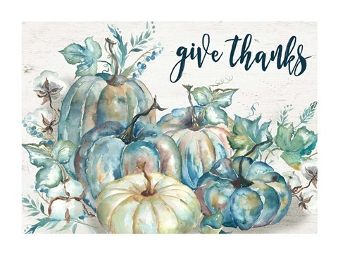 Blue Watercolor Harvest Pumpkin Landscape Give Thanks Fine