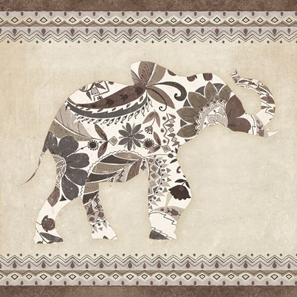Framed Boho Elephant I Neutral Print