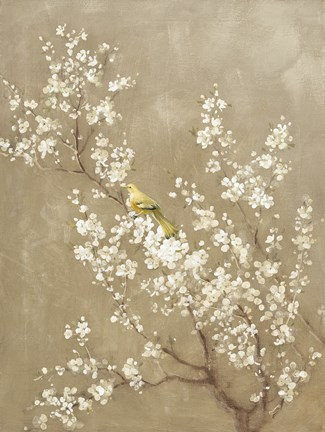 Framed White Cherry Blossom II Neutral Crop Bird Print