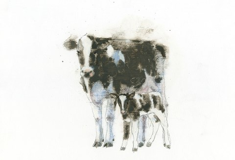 Framed Cow and Calf Light Print