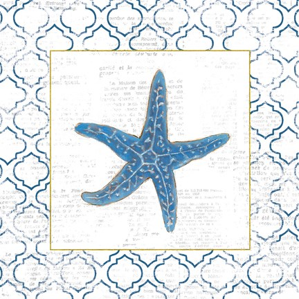 Framed Navy Starfish on Newsprint with Gold Print