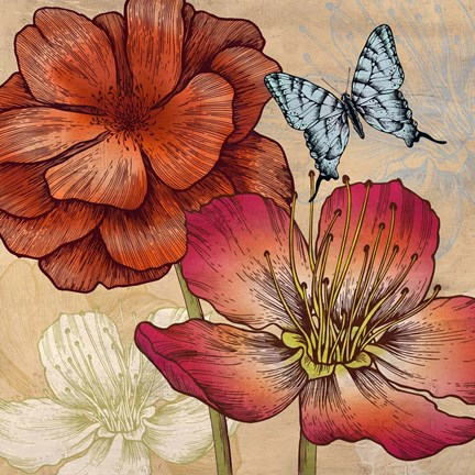 Framed Flowers and Butterflies (detail) Print