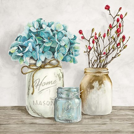 Framed Floral Composition with Mason Jars I Print
