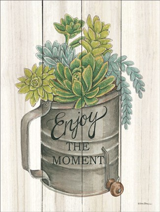 Framed Enjoy the Moment Succulents Print
