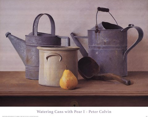 Framed Watering Cans with Pear I Print