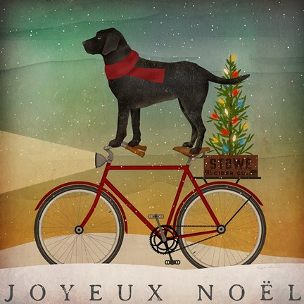 Framed Black Lab on Bike Christmas Print