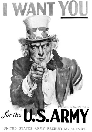 Framed 1910s World War One I Want You Uncle Sam Print