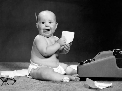 Framed 1960s Eager Baby Accountant Working At Adding Machine Print