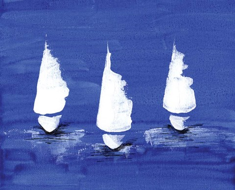 Framed Sailboats at Night Print