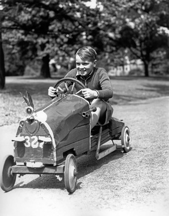 Framed 1930s Boy Driving Home In Race Car Print