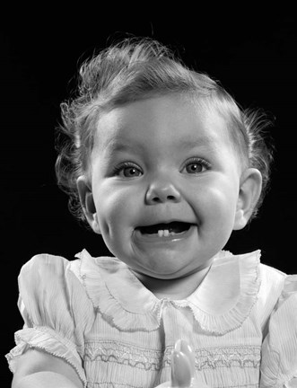 Framed 1950s Portrait Baby Girl Smiling With Two Bottom Print