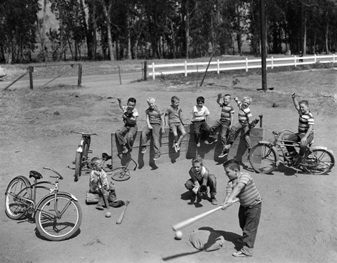 Framed 1950s 10 Neighborhood Boys Playing Sand Lot Baseball Print