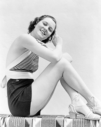 Framed 1930s  Smiling Brunette Woman Wearing Striped Halter Top Print