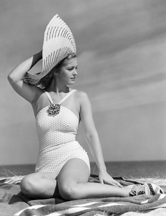 Framed 1930s 1940s Woman In Bathing Suit On Beach Wearing Big Hat Print