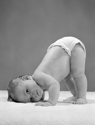 Framed 1950s Baby In Diaper With Cheek To Floor And Bottom In Air? Print