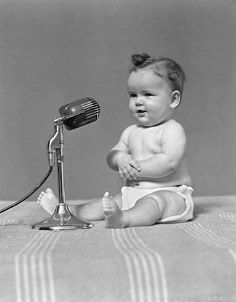 Framed 1940s Baby In Diaper With Microphone Studio Print