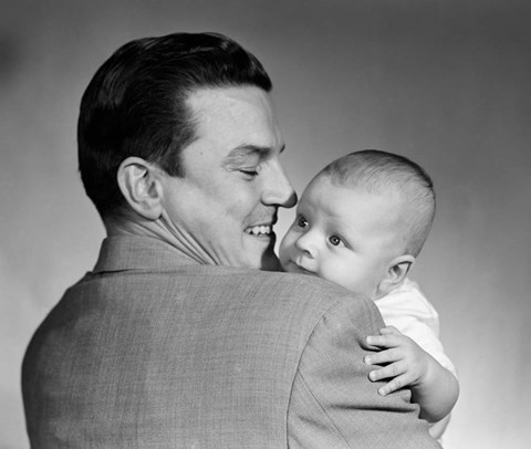 Framed 1950s Proud Smiling Father Holding Baby Face To Camera Print