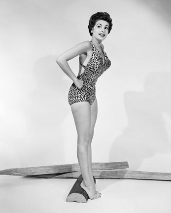 Framed 1950s Pin-Up  Of Woman Wearing Leopard Skin Bathing Suit Print