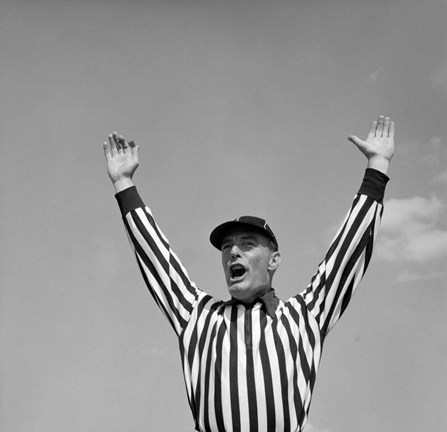 Framed 1950s Football Referee Making Touchdown Signal Print