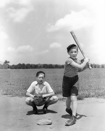 Framed 1930s Two Boys Batter And Catcher Playing Baseball Print