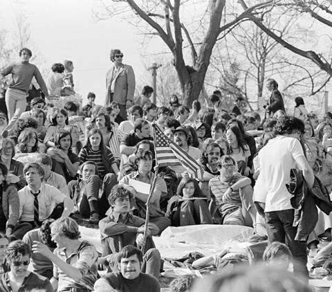 Framed 1970s April 22 1970 Crowd Attending The First Earth Day Print