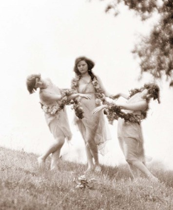 Framed 1900S 1920s Three Modern Dancers Outdoors Print