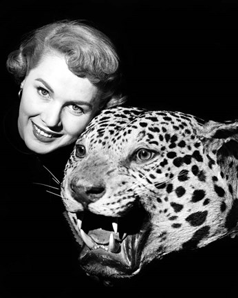 Framed 1950s Woman Face Posed With Growling Stuffed Leopard Head Print