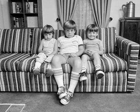 Framed 1970s Three Siblings Sitting On Couch Print