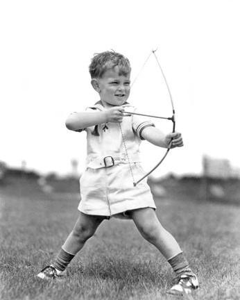 Framed 1930s Boy Outdoors Aiming Toy Bow And Arrow Archery Print