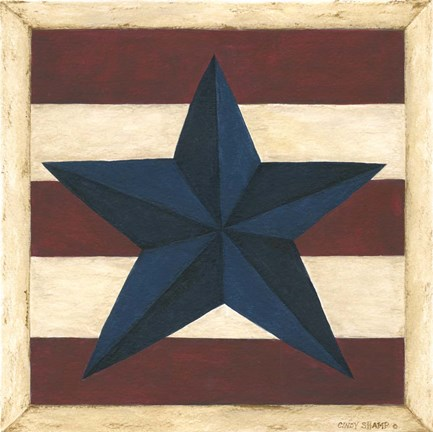 Framed Blue Star, Red Stripes Print
