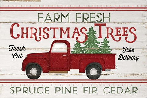 Framed Vintage Truck Farm Christmas Trees Print
