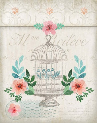 Framed French Spring Birdcage Print