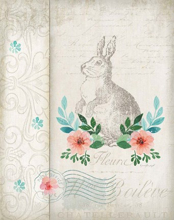 Framed French Spring Rabbit Print