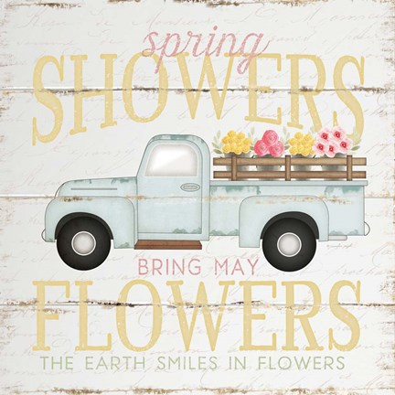 Framed Spring Showers Truck Print