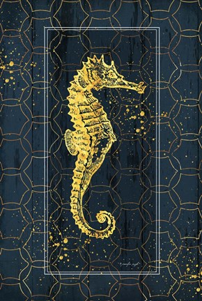 Framed Gold Seahorse Print