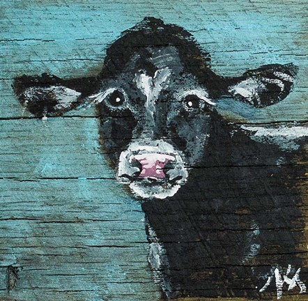Framed Black Cow Print
