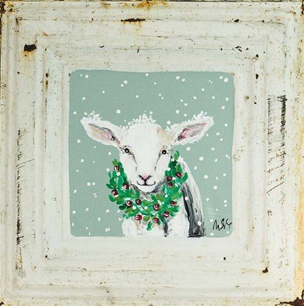 Framed Lamb with Wreath Print