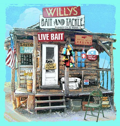 Framed Willys Bait & Tackle Print