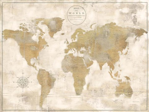 framed rustic world map cream no words print