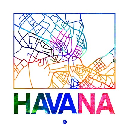 Framed Havana Watercolor Street Map Print
